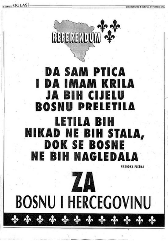 Oglas o Referendumu za nezavisnost Bosne i Hercegovine objavljen u sarajevskom Oslobođenju u februaru 1992. godine
