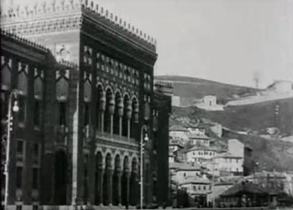Vijećnica i pogled prema Vratniku (Sarajevo, 1915. godine)