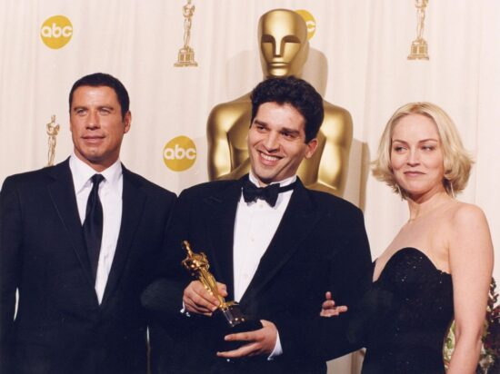 John Travolta, Danis Tanović, Sharon Stone (SAD, 24. mart 2002)