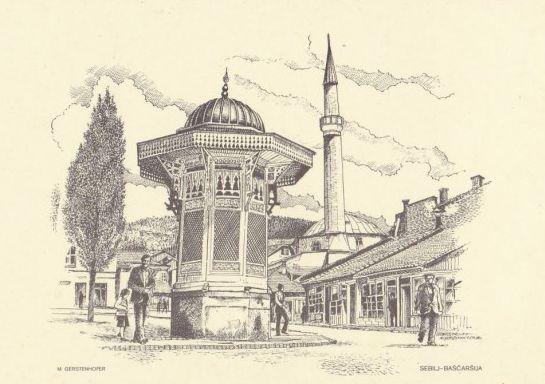 Sebilj na Baščaršiji (Sarajevo u grafici, Mirko J. Gesteinhofer)