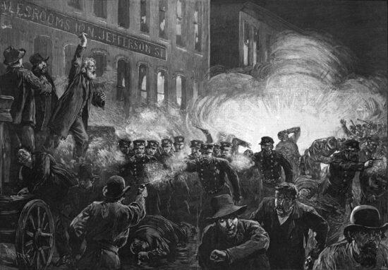 Ilustracija protesta u Chicagu 1. maja 1896. godine