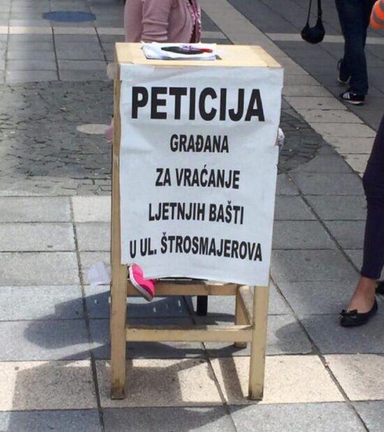 Peticija za ljetne bašte u Štrosmajerovoj (Sarajevo, juni 2016, foto: Amra Bakšić - Čamo)