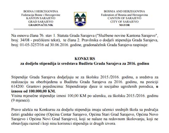 Konkurs za dodjelu stipendija iz sredstava Budžeta Grada Sarajeva za 2016. godinu