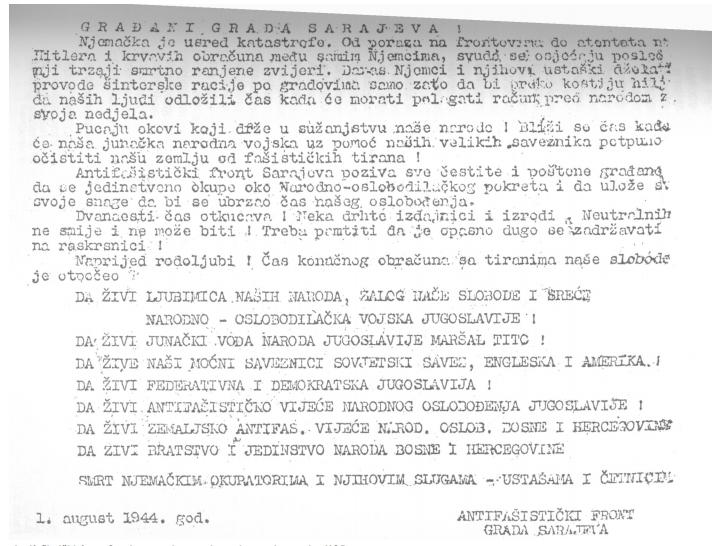 Letak kojim je antifašistički front Sarajeva pozivao građane da se okupe oko Narodnooslobodilačkog pokreta