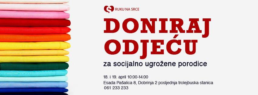 Akcija prikupljanja odjeće za socijalno ugrožene porodice (Sarajevo, 18. i 19. april 2015)