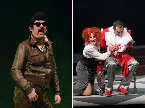 Scene iz predstava Jedan čovjek, dva šefa (Narodno pozorište Sarajevo) i Umišljeni bolesnik (Gradsko dramsko kazalište Gavella)